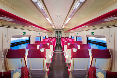 Poster Interior of a modern train in perspective - horizontal
