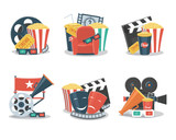 Set of cinema and film concepts illustration with movie theater elements. - 133916026