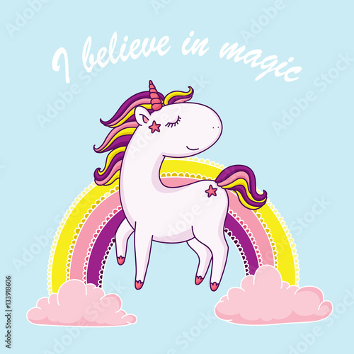 I believe in magic unicorn illustration