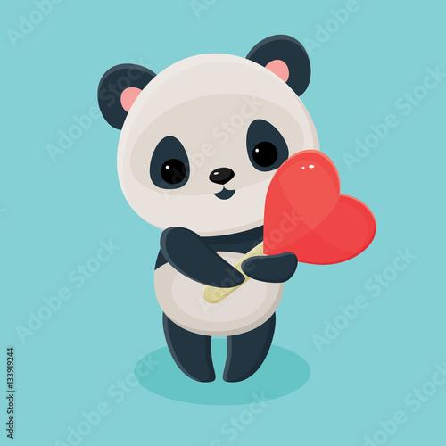 Fototapeta Panda holding lollipop