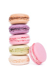 Tasty colorful macaroon isolated on white background, sweet and colorful dessert