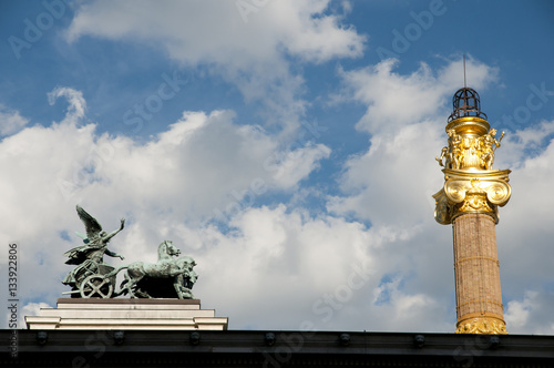 Poster Quadriga Staue on Top of Parliament - Vienna - Austria