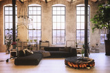 Converted loft interior with high graceful windows - 133924616