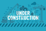 Under construction web page banner concept with thin line flat design - 133931806