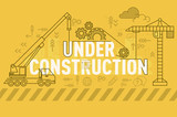 Under construction web page banner concept with thin line flat design - 133931857