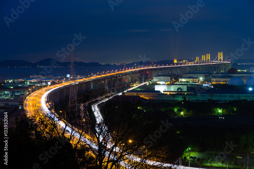 Poster Great Seto Bridge at night