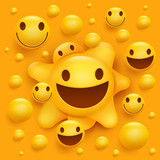 Yellow smiley face character. Molecular structure