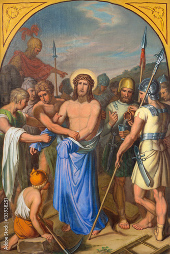 VIENNA, AUSTRIA - DECEMBER 19, 2016: The painting Jesus clothes are taken away in church kirche St. Laurenz (Schottenfelder Kirche) by unknown artist of 19. cent.