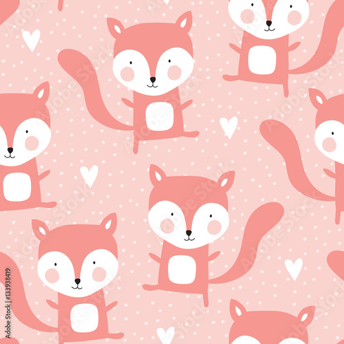 Materiał do szycia seamless fox pattern vector illustration