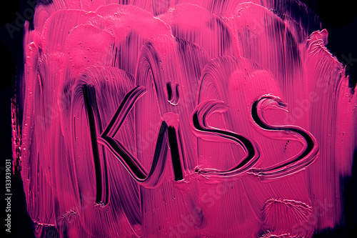 Lipstick pink kiss background Poster