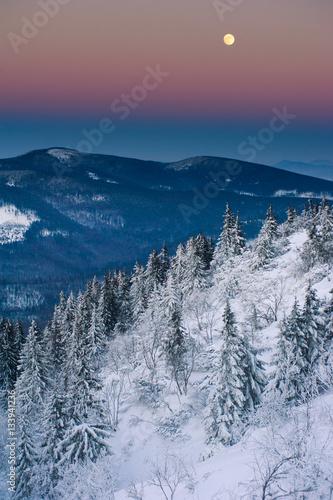 Poster Landscape of mountains in beskid zywiecki,poland.Wonderful eveni