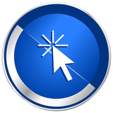 Click here silver metallic web and mobile phone vector icon.