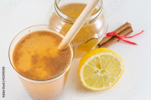 Poster honey lemon and cinnamon drink