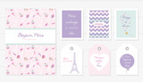 Love in Paris design. Notebook, cards and tags cute templates set. Honey moon, Valentine s, french bakery . Included seamless pattern with Eiffel tower sweets - cupcakes, candies.