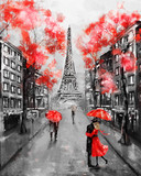 Fototapety Oil Painting, Paris. european city landscape. France, Wallpaper, eiffel tower. Black, white and red, Modern art. Couple under an umbrella on street