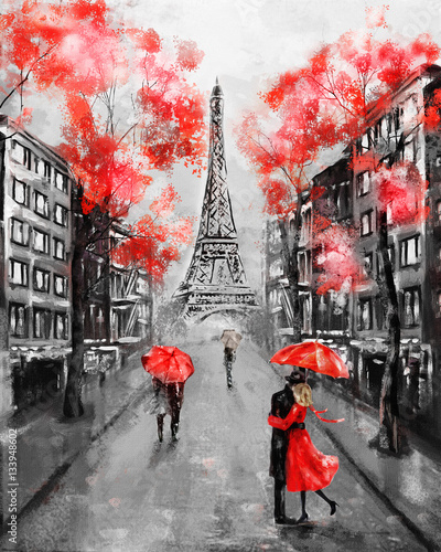 Fototapety, obrazy : Oil Painting, Paris. european city landscape. France, Wallpaper, eiffel tower. Black, white and red, Modern art. Couple under an umbrella on street