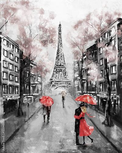 Oil Painting, Paris. european city landscape. France, Wallpaper, eiffel tower. Modern art. Couple under an umbrella on street