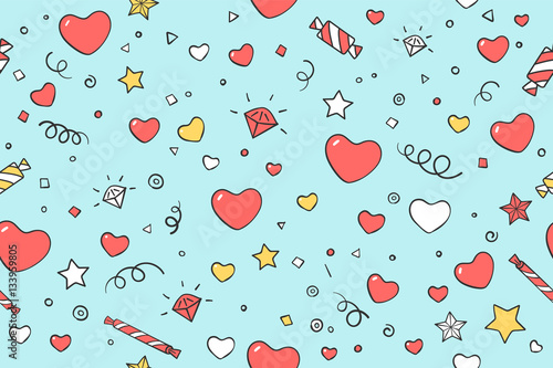 Cotton fabric Seamless pattern with hearts and love symbols for Valentine Day, Lovers Day or wedding. Hand drawn design in Love theme for wrapping paper, packaging, wallpaper, background. Vector Illustration