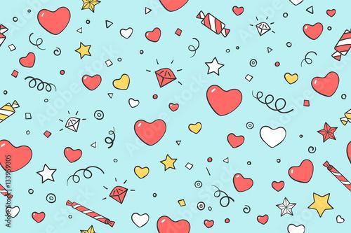 Materiał do szycia Wzór z symbolami serca i miłości na Walentynki, miłośników dzień lub ślubnej. Ręcznie rysowane projekt w Love theme dla papieru do pakowania, opakowań, Tapety, tła. Ilustracja wektorowa