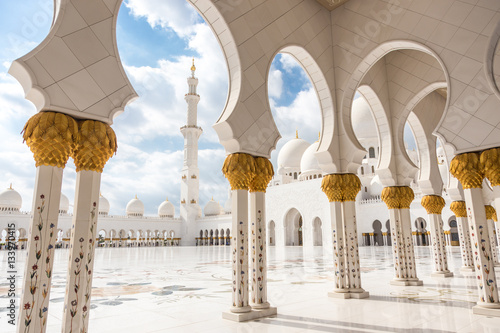 View of Sheikh Zayed Grand Mosque in Abu Dhabi, United Arab Emirates.