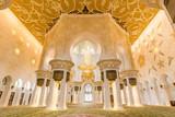 Rich artistic islamic interior of Sheikh Zayed Grand Mosque in Abu Dhabi, United Arab Emirates.