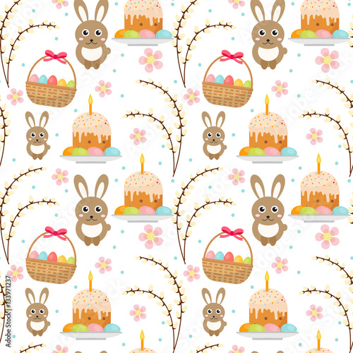 Materiał do szycia Easter seamless pattern with rabbit, egg basket, cake, pussy willow. Endless Spring background, texture, digital paper. Vector illustration