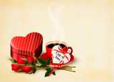 Holiday Valentine`s day background. Red roses with red heart-sha