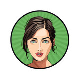 beauty girl face lipstick hair tied sticker green background vector illustration eps 10