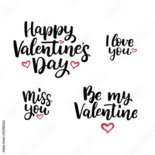 Set Of Hand Drawn Vector Lettering Quotes For Valentines Day Buy