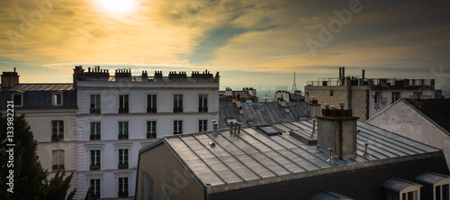 Paris rooftop from the top of Montmartre, with the Eiffel Tower in the background - 133982221
