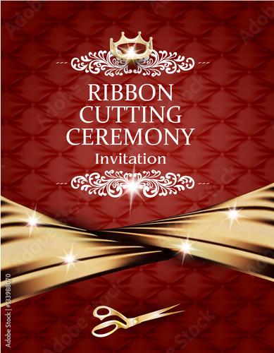 Elegant Vintage Ribbon Cutting Ceremony Card With Silk Gold Ribbon