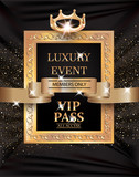 Luxury event VIP PASS with vintage frame, gold ribbon and fabric background. Vector illustration - 133989689