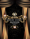 VIP elegant luxury event invitation card with gold theater curtains. Vector illustration - 133991807