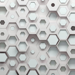 Paramtric hexagonal color pattern, 3d illustration
