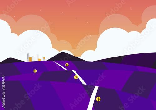 Foto op Canvas Violet nature landscape background, cute flat design