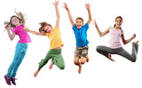 Fototapety group of happy cheerful sportive children jumping and dancing