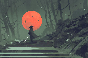 Samurai standing on stairway in night forest with the red moon on background,illustration painting © grandfailure