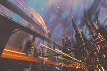 "Постер, картина, фотообои ""sci-fi scenery of futuristic city with industrial buildings,illustration painting"""