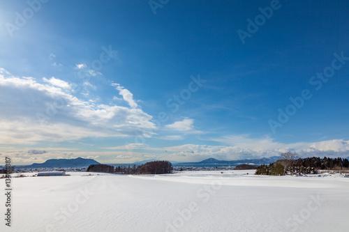 雪原から函館湾を望む