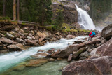 Beautiful Krimml waterfall and mountain stream on Tauern Nation