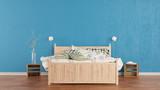 Modernes Schlafzimmer mit Bett und Nachttisch