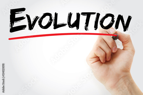 Poster Hand writing Evolution with marker, concept background