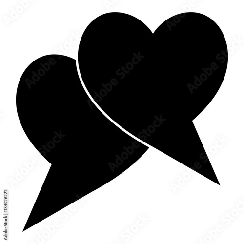 Two hearts icon, simple style