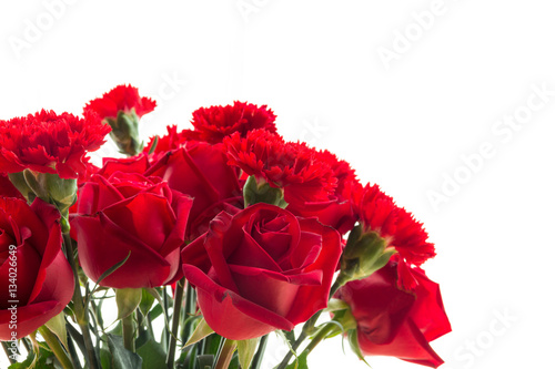 Staande foto Roses red rose and carnation isolated on white background