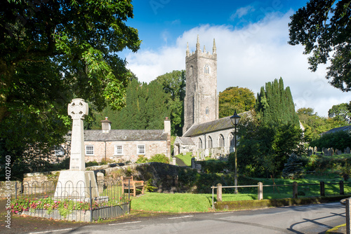 Poster Church of St Nonna with the local war memorial, located in the picturesque village Altarnun in Cornwall