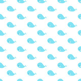 Cute cartoon whales geometric seamless pattern. Simple and nice for baby and kids. Blue whales on a white background.