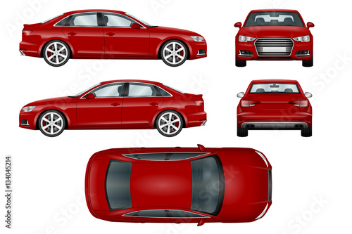 Red sport car vector template. The ability to easily change the color. All sides in groups on separate layers. View from side, back, front and top. - 134045214