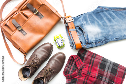 Poster Men's casual outfits with leather bag, red plaid shirt, blue jeans, man clothing