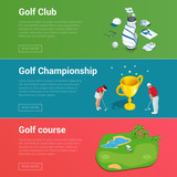 Horizontal Golf Club banners with golf car course hole, championship and apparel flat illustration.
