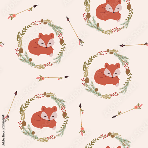 Cotton fabric Sleeping fox in a wreath seamless wallpaper